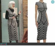 Alexander McQueen Dress L Black Pearl Sheath INTARSIA Knit Moira Schitt's Creek