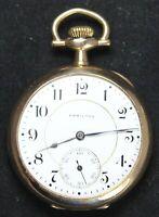 1914 Hamilton Grade 956 16s 17j Pocket Watch - GF Swing-Out Case  - Parts/Repair