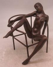 Bronze Sculpture - Naked Lady seated on Open Framed Chair