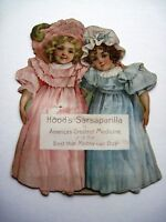"""Vintage 1900 """"Hood's Sarsaparilla"""" Calendar w/Two Darling Girls w/ Pretty Faces*"""