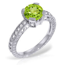 Platinum Plated 925 Sterling Silver Ring w/ Natural Diamonds & Peridot