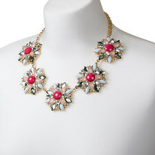 Floral Statement Necklace Gold Pink Colourful Pendant Chunky Bib Collar Choker