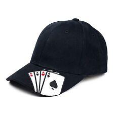 Black Four Aces Vegas Gambling Playing Card Hold'em Poker Player Baseball Hat