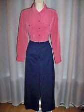 ST JOHN MARIE GRAY NAVY TAILORED CLASSIC DRESS CROP PANTS 12 GORGEOUS