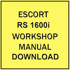 FORD ESCORT RS 1600i WORKSHOP MANUAL (DOWNLOAD)