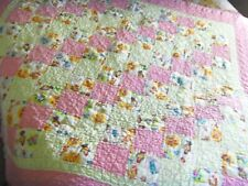 """Adorable Handmade Baby Quilt 50"""" X 50"""" Pink Yellow w/Multi Color Animals Nursery"""