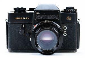 VINTAGE LEICA LEICAFLEX BLACK 35mm SL FILM CAMERA WITH SUMMICRON 1:2/50 LENS