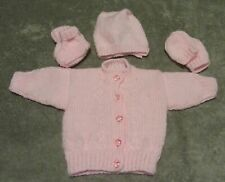Hand knitted  pink/hat/mittens & booties set in pink newborn baby girl