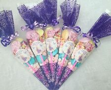 20 X Rapunzel Themed Pre Filled Party Cones Personalised + Free Sweety Bag