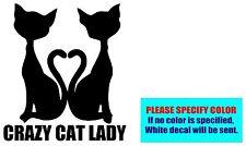 "Crazy CAT Lady Heart Tails Vinyl decal sticker Car Truck Window Laptop 6"""