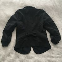 Stooshy Blazer Black Size Small Bow Detail Rouched Sleeves EUC