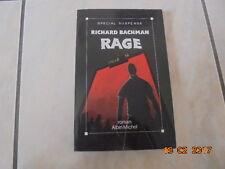 ROMAN RAGE de STEPHEN KING / TRES BON ETAT /Roman rare car plus édité depuis1997