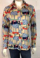 Vtg Duck Swan Long Sleeve Shirt Button Front Top Blouse Size M/L Retro