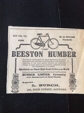 K2-8 Ephemera 1910 Advert The Beeston Humber Bicycle L Burch Ashford