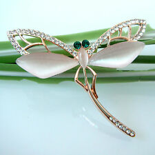 Navachi Flying Dragonfly 18K Yellow GP Opal Crystal Rhinestone Pin Brooch BH7090
