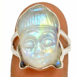 Buddha Face Carving Moonstone - India 925 Silver Jewelry Ring s.6.5 AR218201