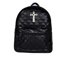 GOTHX METAL CROSS Black Quilted Mini Backpack Rucksack Steam Punk Rock Goth Bag