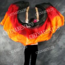 TIE-DYE BELLY DANCE 100% SILK VEILS (5.0 M/M) 1.14M*2.7M BLACK RED ORANGE 7869