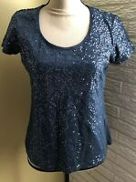 Kiara Women's Medium Blue Short Sleeve Knit Top Sequins on Front ~EUC~