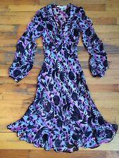 Diane Von Furstenberg DVF Sheer Silk Bell Sleeve Floral Print Dress Sz 2 PERFECT