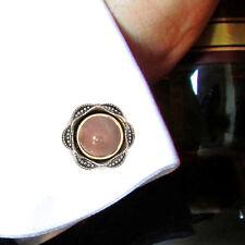 Men Cuff links Pink Moonstone Vintage Style Handmade Sterling  Silver Gift