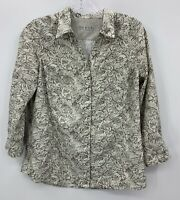 Royal Robbins Womens Ivory Brown Patterned Outdoor Snap Front Shirt Sz Small