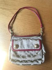 Coach Poppy Signature Beige/Red Crossbody Bag Handbag Purse Messenger EUC Nice