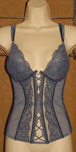VICTORIA'S Secret - Lav / Gray - Lace SHEER Bling Bling Lingerie Bustier sz 34 C