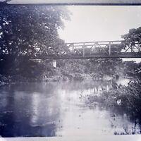 "Antique Glass Plate Negative Photograph 4 1/4"" Bridge Over River"