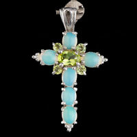 100% NATURAL 6X4MM PERIDOT & ETHIOPIAN BLUE OPAL CROSS AAA++ SILVER 925 PENDANT