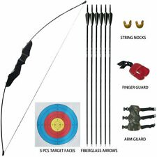 35lbs Archery Straight Takedown Bow Target Longbow Arrow Kit Beginner Right Hand