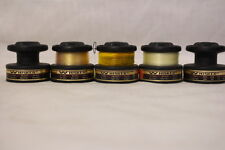Lot of 5 Vintage WHISKER GRAPHITE SPOOLS By Daiwa + Fishing Line (Yellow/Clear)