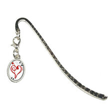 Music Heart - Love Treble Bass Clef Notes Staff - Metal Bookmark with Oval Charm