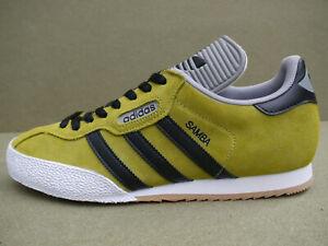 Adidas Samba Super CUSTOM Greenish-Yellow Suede & Black Stripes (UK 11) BNIBWTT