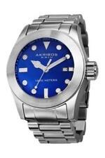 Akribos XXIV Men's AK730BU Quartz Movement Watch with Blue Glossy Dial and Stain