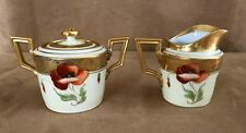 Antique Poppy Pickard China cream & sugar Set poppies art deco Vienna porcelain