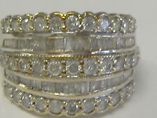 10 K   WHITE GOLD  DIAMOND 1.75CT TW WIDE BAND, SIZE 6,5,  WIDTH 15 MM
