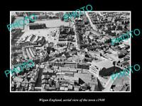 OLD LARGE HISTORIC PHOTO OF WIGAN ENGLAND, AERIAL VIEW OF THE TOWN c1940 2