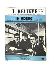 SHEET MUSIC THE BACHELORS I BELIEVE DECCA RECORDS 1964 POP BEAT R&R FOLK POSTER