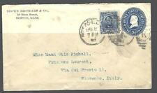 International Cover U330(Grant) & 304(Lincoln) Boston-Florence,Italy w/Backstamp