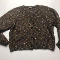 Paul Et Duffier Mohair Blend Brown Cardigan Sweater Size Medium a1243