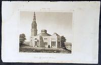 1837 de Rochelle Original Antique Print of Monumental Church, Richmond Virginia