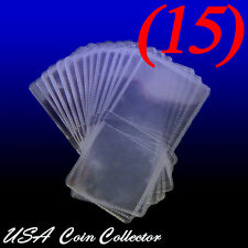 (15) 2x2 Double Pocket Vinyl Coin Flips for Storage & Display - Plastic Holders