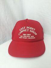 Vintage Americana Red Snapback Trucker Hat East Point Georgia Cabinet Shop