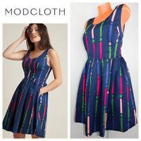 MODCLOTH Optimistic Effect DRESS 3X 22 24 Flare Blue Pink Stripe Rockabilly   o