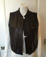 See By Chloe Brown Leather Moto Style Vest Size 6
