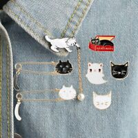 Cat Animal Enamel Piercing Brooch Pin Collar Decor Badge Corsage Jewelry Gifts