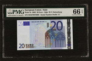 2002 European Union / Italy 20 Euro Pick#3s  PMG 66 EPQ Gem UNC