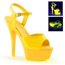 Pleaser Kiss-209UV Shoes Platform Sandals Neon Stilettos High Heels Ankle Strap