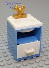 NEW Lego Belville BATHROOM SINK Med Blue w/Gold Faucet  & White Basin - RARE